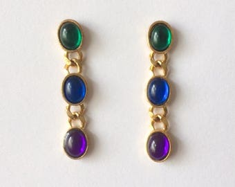 Vintage 1970's Gold Green Blue Purple Lucite Ovals Chain Dangle Drop Earrings