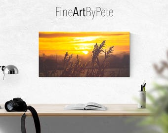 Sunrise landscape canvas, living room wall art decor, scenery artwork, photography, picture, photograph, wall hangings