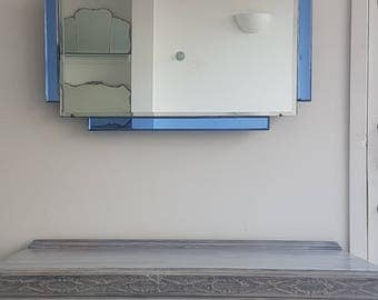 Art Deco Mirror With Blue Mirror Separate Panels