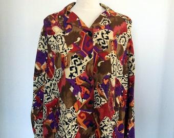 Multi Color Button Down Shirt,  Long Sleeves Blouse, Ethnic Motives Warm Colors