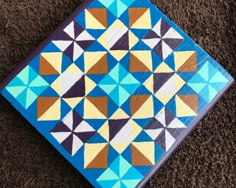 """Hand Painted Mini Barn Quilt on Wood Block (5.25""""x5.25"""")"""