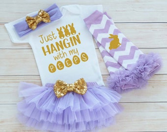 Easter Outfit, Hangin With My Peeps, My First Easter, Baby Girl Easter Outfit, Baby Girl Easter, Baby Easter Shirt, Baby Girl Easter Gift,
