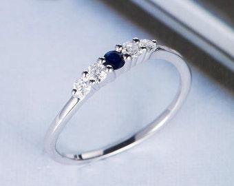 Sapphire Engagement Ring White Gold Diamond Unique Bridal Promise Birthstone Gemstone Multistone Minimalist Stacking Women