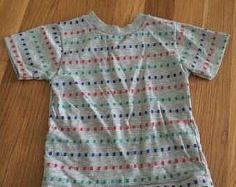 1970's gray geometric print tshirt - size 3t