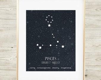 Pisces Constellation, Printable Pisces Art, Pisces Zodiac Sign, Zodiac Art, Pisces Star Map, Pisces Print, Pisces Poster, Pisces Zodiac Art