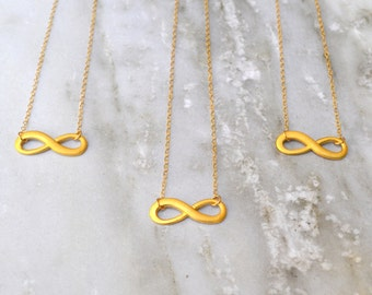 Infinity Matte Gold Filled Dainty Necklace // Bridesmaids Gift // Layering Necklace // Minimalist // Alexa Necklace