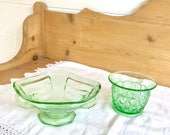 Art Deco Green Glass Bowl...
