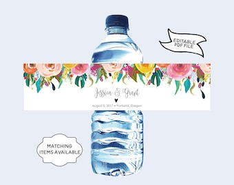 Personalized Water Bottle Label Editable Printable Floral Peony Wedding Waterbottle Sticker Label DIY Wildflower Colorful Template PCFDWS