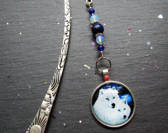 White Wolves Bookmark with Moonstone and Lapis Lazuli, Wolf Bookmark, Cabochon Bookmark, Pagan bookmark, Wicca bookmark, Gift for Book Lover