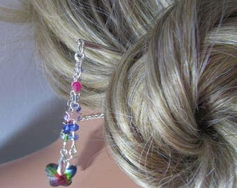 Butterfly Hair Stick with Crystals, Butterfly Hair Accessory, Hair Stick, Rainbow Hair Stick, Hair Accessory, Bun Accessory, Rainbow