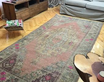 "Turkish rug,floor rug.4""5x8""9.carpet,Rugs,Oushak rug,Vintage Oushak rug,Oushak Vintage rug,enter rug,enteresan rug,handspun rug,hallway rug."