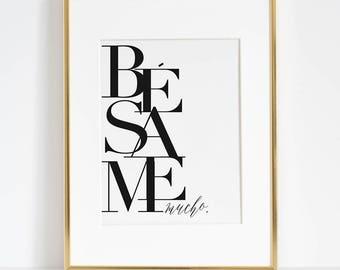 BESAME PRINT, Kiss Me Quote,Spanish Poster,Spanish Decor,Love Quote,Besame Mucho Sign,Scandinavian Wall Art,Darling Gift,Boyfriend Gift