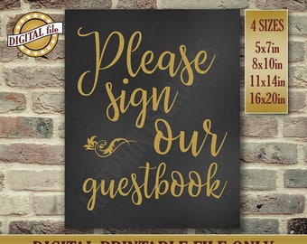 Please Sign Our Guestbook Sign, Wedding Guestbook Sign, Wedding Guestbook, Printable Wedding Decor, Chalkboard Sign, Printable DIGITAL FILE