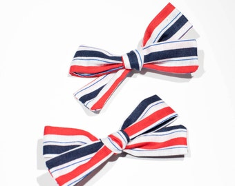 Red, White and Blue Stripe Hand Tied Hair Bow