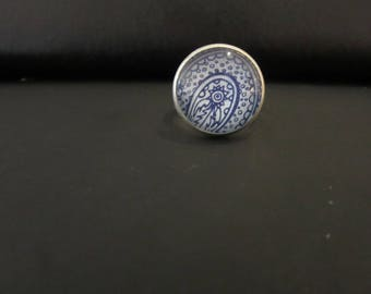 Blue ethnic cabochon ring