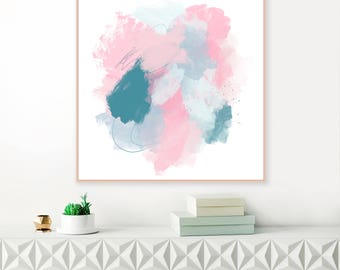 Pink and Blue Abstract Art, Large Pink Painting, Modern Abstract Print, Minimalist Painting, Original Wall Art, Extra Large Wall Art