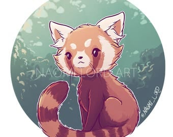"Kawaii Red Panda, Sitkcer and/or Print. 8x8"" 6x6"""
