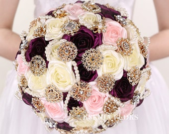 Ivory And Plum Brooch Bouquet Bridal Sangria Wedding Broach