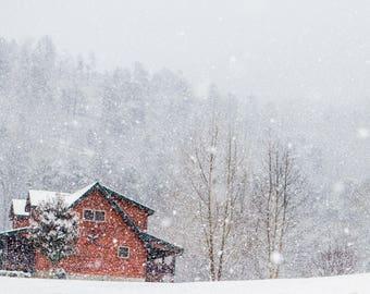 Cabin Winter Wonderland - 10x20 - Metal Print