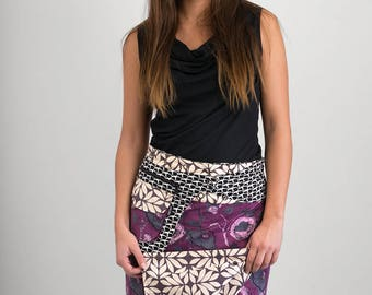 Reversible Cotton Skirt Purple Floral Black White Print Detachable Pocket Long Length