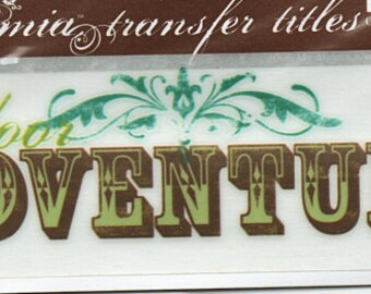 Outdoor Adventure Title Rub On Transfer Embellishments Cardmaking Crafts My Mind's Eye Bohemia