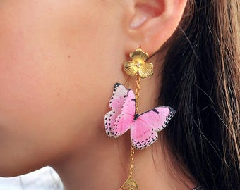 gift for her pink jewelry Butterfly earrings gift girl earrings pink butterfly gold leaves earrings long chain pink earrings Sister gift