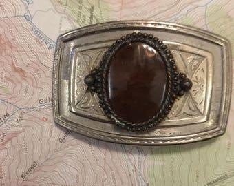 Silver Copper Gem Stone Western Belt Buckle