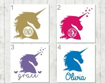 Unicorn Monogram Decal, Unicorn Decal, Monogram Decal, Vinyl Laptop Decal