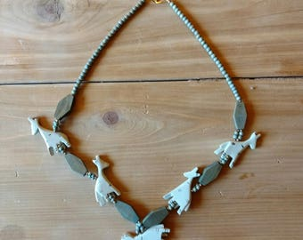 Carved Wood Safari Necklace, Grey Giraffes
