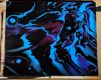 "16"" x 20"" Fluid Acrylic Original Abstract Painting - Blue, Pink, Black"