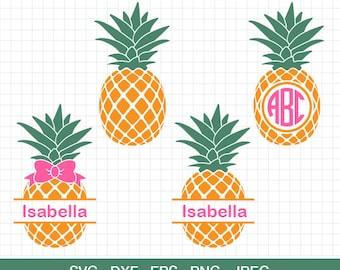 Pineapple SVG Pineapple monogram frame SVG  Pineapple Bow SVG Pineapple vector files for Silhouette Cricut Svg Dxf Eps Png Jpg