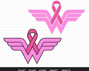 Wonder Woman Breast Cancer Awareness svg, Cancer Awareness ribbon svg, cutting files for CirCut & Silhouette