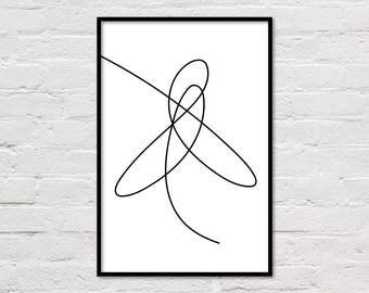 Scandinavian Print, Line Drawing, Scandi Wall Art, Black and White Poster, Minimalist Print, Line Art, Printable Modern Art, Download