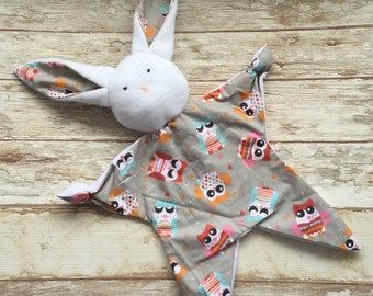 Doudou Bunny Rabbit motif owls comforter sleeping comfort toy