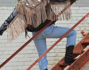 1980s Two Toned Leather Fringe Motorcycle Jacket, Women's SZ S, Vintage Black And Faded Brown Jacket