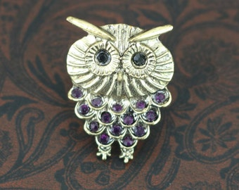 Adjustable Ring, Owl Ring, Purple Rhinestone Crystals, Gift for Her, Owl Gifts, Bird Ring, Ring Bearer, Purple Ring, Owl Jewelry, Jewellery