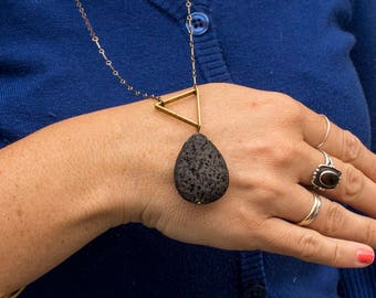 Triangle and Lava Necklace
