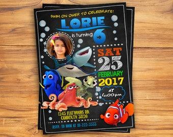 Finding Dory Invitation, Nemo invitation, Finding Dory Invite, Finding Dory Birthday, Finding Dory Party, Finding Dory Card