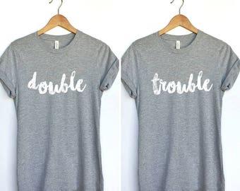 Bestie Duo Shirt, Bestie Duo Tee, double trouble duo tshirt , Matching Duo Shirts, Duo Tees, Bff Shirt Set, Set Of Shirts Bff, Bff Tee Set