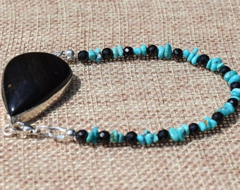 Obsidian Bezel with Turquoise Black Spinel Bracelet~- Protective Energy Stones
