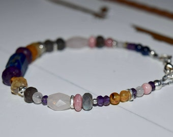 Energy Bracelet for Happiness~ Labradorite, Rose Quartz, Rhodochrosite, Baltic Amber, Lapis Lazuli, and Citrine ~Energy Stone Bracelet~