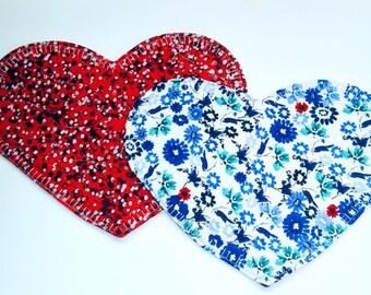 Heart Mug Rugs, Heart-shaped Mug Rug, Heart Mug Rug, Blue Mug Rug, Red Mug Rug, Heart Table Topper, Snack Mat, Set of 2