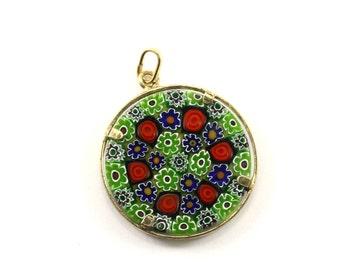 Vintage Glass Enamel Floral Design Pendant 925 Sterling PD 114