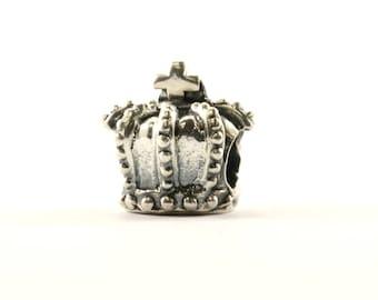 Vintage Royal Crown Bead Charm Sterling 925 CH 180