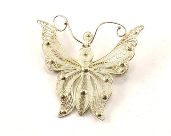 Vintage Filigree Butterfly Pin/brooch 925 Sterling BB 1249