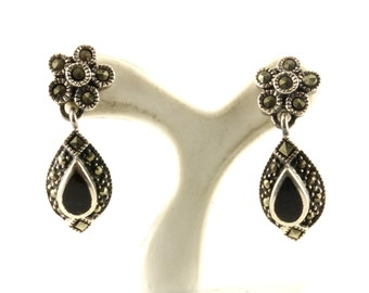 Vintage Flower Onyx Marcasite Dangle Earrings Sterling Silver ER 1029