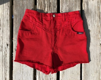 "Vintage Sz 29"" Extra High Waisted Vintage Red Roper Cutoffs"