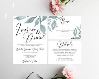 PRINTED Calligraphy Wedding Invitation, Greenery Wedding Invitation, Minimal Wedding, Customize Wedding Invitation, 7 X 5, RSVP Bundle