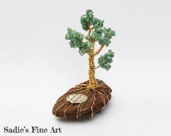 Aventurine Spring Tree on Driftwood with Abalone Pond