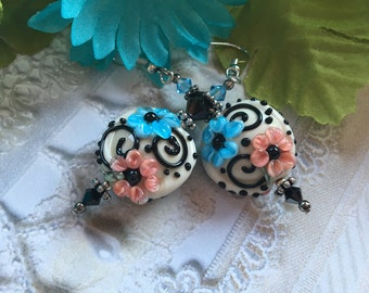 Blue and Pink Flower/Floral Earrings, Lampwork Jewelry, SRA Lampwork Jewelry,  Gift For Her